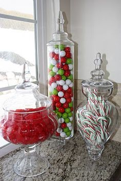 Christmas themed candies in various jars, such an easy idea. (Not like my kids won't be excited without all the sugary goodness...that's a tantrum waiting to happen).