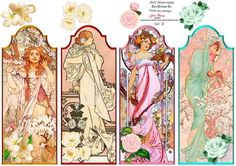 Art Nouveau Ladies Bookmarks Set 3 on Craftsuprint designed by June Young - A set of 4 Bookmarks featuring Art Nouveau ladies. Each has a small floral embellishment and there is decoupage for this at the top of the sheet so you could use these for card toppers as well as for bookmarks. - Now available for download!