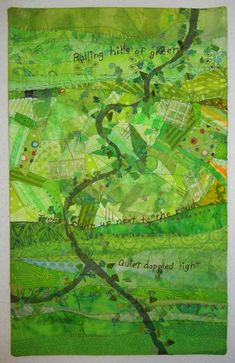 Perhaps that's why Ellen Lindner has created so many farm and rural fabric collages. Landscape Quilts, Landscape Art, Textiles, Watercolor Quilt, Map Quilt, Creation Art, Summer Quilts, Quilt Modernen, Green Quilt
