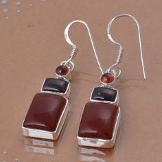 EXCLUSIVE 925 FINE STERLING SILVER RED ONYX & GARNET EARRING 8.09g DJER3030 #Handmade #EARRING