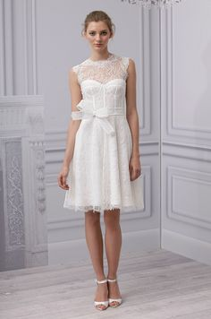 A Short Wedding Dress From Monique Lhuillier Spring 2017 Lace