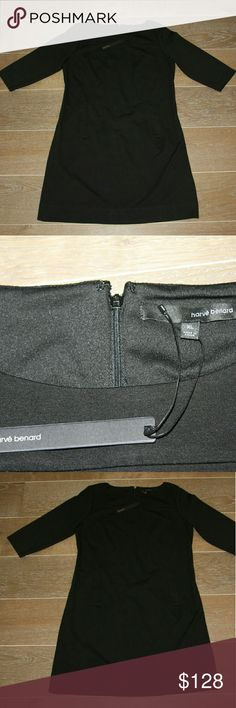 Harve Benard Black Sheath Dress XL Harve Benard Solid Black Dress  Size XL (14-16) Ponte Shift Dress Black cotton knit fabric  Zipper back Two front pockets Long sleeve Classic Sheath Silhouette  Classic! The black dress everyone needs in their closet. Great for the office yet chic and flirty for a night out. Harve Benard Dresses Long Sleeve