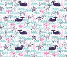 Sous la mer fabric by un_temps_de_coton on Spoonflower - custom fabric