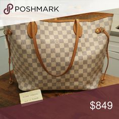 Louis Vuitton Neverfull MM Damier Azur Price is FIRM, no Trades  One of my favorite bags, and one of the few Louis Vuitton bags I actually own (I'm a reseller FB Group - Aly's LV Rehab)!   Even, lighter honey patina. Clean exterior and odor-free. Some minor spots on the interior, common', it's cream! Pocket lining is in tact. Handles, chaps and drawstrings are in very good shape, no cracks. No color transfer! Corners show very minimal wear. Date code is SP 3150. Made in France, 2010.  Dust…