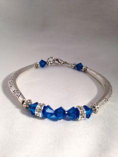 Blue beaded bracelet blue bracelet Swarovski by KCstylejewelry