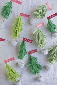 DIY Crepe Paper Christmas Tree Name Cards