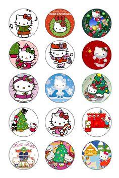 Christmas: Hello Kitty Bottle Cap Art, Bottle Cap Crafts, Diy Bottle, Bottle Cap Images, Hello Kitty Christmas, Hello Kitty Birthday, Christmas Cats, Vintage Christmas, Hello Kitty Art