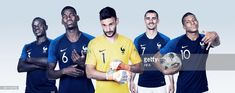 In this composite image, (L-R) N'Golo Kante, Paul Pogba,Hugo Lloris,Antoine Griezmann,Kylian Mbappe of France pose for a portrait during the official FIFA World Cup 2018 portrait session at the Team Hotel on June 11, 2018 in Moscow, Russia.
