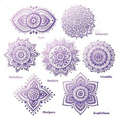 Photo about Isolated Set of beautiful ornamental 7 chakras. Illustration of icon, body, chakra - 41253317 Mandala Tattoo Design, Dotwork Tattoo Mandala, Mandala Drawing, Tattoo Designs, Mandala Tattoo Meaning, Tattoo Abstract, Lotus Mandala Design, Sunflower Mandala Tattoo, Henna Mandala