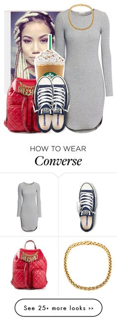 """School"" by trillest-queen on Polyvore featuring H&M, Moschino and Converse"