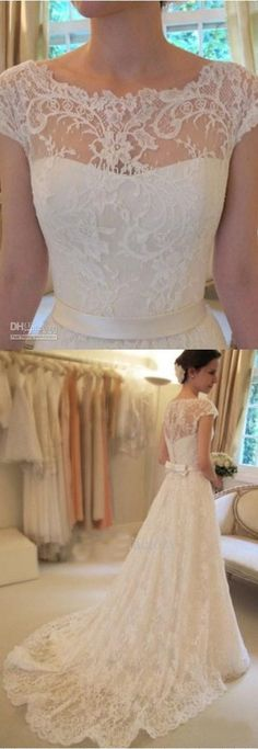 Vestidos De Novia Vintage A-Line Lace Wedding Dresses #laceweddingdresses