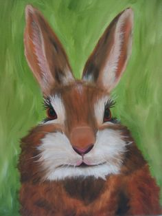 Bunny  Bella 16 x 12 Original oil painting by behindblueeyesart1, $150.00