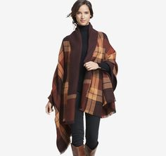 Double-Faced Plaid Blanket Wrap | Johnston & Murphy