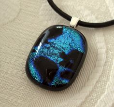 Blue and Black Pendant by TaylorGlassCreations on Etsy