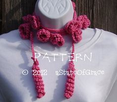 Spirals and Roses Lariat Scarf PATTERN Crochet by aStateOfGrace