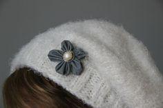 Flower brooch made from reflector ribbon
