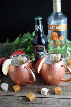 Caramel Apple Moscow Mule (3 drinks) - 3oz caramel apple vodka; 1oz Rose's lime juice; 6oz apple cider; 1 bottle crabbie's ginger beer