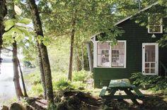 sommerhus ved sø, fritids hus, fritid, lakeside cabin with green shingles & white trim, Belfast Maine