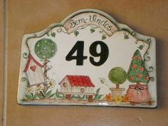 House Number Plates, Ceramic House Numbers, Tile Art, Tiles, Ceramic Houses, Address Plaque, Porcelain Clay, Decoupage, Paintings