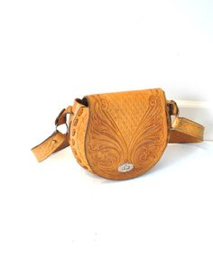 BOHO leather saddle bag vintage 1970s 70s TOOLED by onefortynine