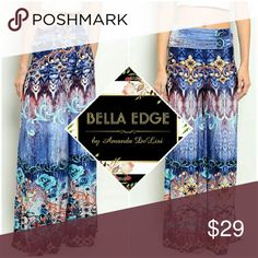 Blue abstract palazzo wide leg pants 92% POLYESTER, 8% SPANDEX. Made in the USA. These beautiful, watercolor-like on-trend pants features beautiful hues of blues and abstract coloring with feminine floral/rose detailing scattered throughout. Sizes small to large. Also available in fuschia Bella Edge Boutique  Pants Wide Leg