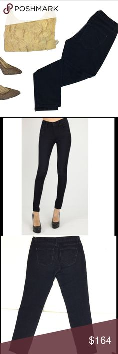 """JAMES JEANS TWIGGY 30 Dark Low Skinny Jeans This is the James Jeans Twiggy skinny jeans. Gorgeous pair of jeans, that works equally well with heels or sneakers. These feature a dark wash and 1% spandex for a stretchy denim Construction. So soft and comfortable! GUC- Gently worn-very mild wear at knee. See pics. Size 30. Approximate flat measurements are as follows: Inseam 29 inches,  Back waistband 15"""", rise 8"""". A gorgeous, slimming staple! James Jeans Jeans Skinny"""