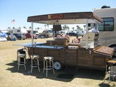 Whiskey Tango Kitchen Trailer: Pop Up RV Kitchen Anyone who tailgates or has in years past will find this RV kitchen trailer mod to be quite impressive. Built on an aging pop up camper chassis. Pop Up Trailer, Old Campers, Retro Campers, Popup Camper, Diy Camper, Camper Van, Camper Ideas, Coffee Carts, Coffee Truck