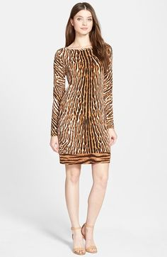 MICHAEL Michael Kors Animal Print Boatneck Shift Dress (Regular & Petite) available at #Nordstrom