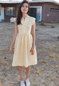be75b63bedf Christy Dawn Piper Yellow Linen Dress Size Small