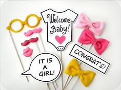 BABY SHOWER Photobooth Props - Baby Girl Plastic Photo booth Party Props - Family, friends, baby party - Set of 10 props