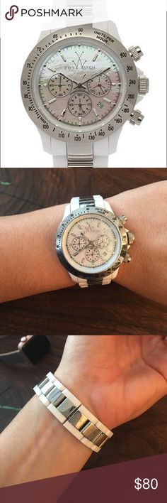 Toy Watch Heavy Metal Plastameric White & Silver Toy Watch Heavy Metal Plastameric White & Silver - only worn a few times so in excellent condition! Beautiful mother of pearl face. Removed a couple of links for sizing that will be sent as well. Needs battery ToyWatch Accessories Watches