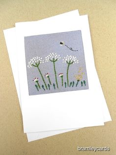 Embroidered Cow Parsley Hedgerow for Birthday. Thank you. Get Well Card £4.00 Birthday Thank You, Birthday Cards, Cow Parsley, Cross Stitch Cards, Get Well Cards, Paper Flowers, Machine Embroidery, Daisy, Gift Wrapping