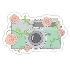"""""""Floral Camera"""" Stickers by Heather Clauson Stickers Cool, Stickers Kawaii, Preppy Stickers, Cute Laptop Stickers, Tumblr Stickers, Phone Stickers, Journal Stickers, Scrapbook Stickers, Printable Stickers"""