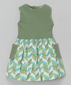 Look at this Green Chevron Organic Pocket Dress - Infant, Toddler & Girls on #zulily today!