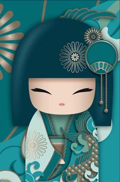 Embroidery On Paper Kimono Dolls, Diamond Painting Kit, Mosaic Cartoon Full Rhinestone Embroidery Needlework -Diamond Paintings, Diamond Paintings Store - Asian Quilts, Geisha Art, Ideias Diy, Asian Doll, Japanese Embroidery, Kokeshi Dolls, Cross Paintings, Japan Art, Cute Illustration