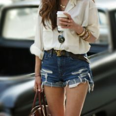 Silk blouse + denim shorts = <3