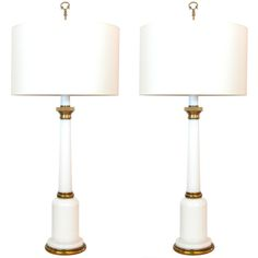 pair of brass and white opaline glass lamps - warren kessler - usa - 1960s - HEIGHT: 	32.75 in. (83 cm) DIAMETER: 	6.75 in. (17 cm)
