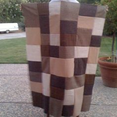 """My ""old man"" quilt - made with upcycled men's wool blazers from 2nd hand stores."" Image only; no pattern."