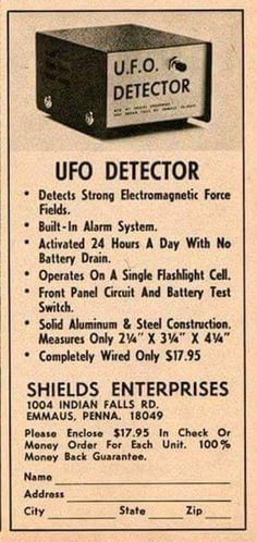 Late or early mail order advert for a UFO detector. Funny Vintage Ads, Funny Ads, Vintage Humor, Vintage Posters, Retro Vintage, Retro Posters, Funny Jokes, Old Advertisements, Retro Advertising