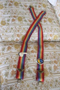 1979 Official Mork and Mindy suspenders Rainbow by kissingcousin, $35.00