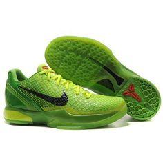 promo code 1a345 df063 Famous Nike Zoom Kobe 6 VI Men Grinch Christmas Apple Green   Black  Basketball Shoes For