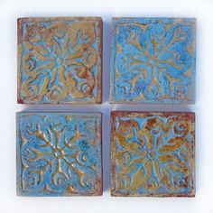 Indian tile - hand painted - textured trivit - kashmir wall art - blue ochre coaster