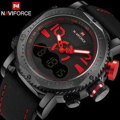 NAVIFORCE men sport watch brand dual display digital watch leather quartz  watch red 30M waterproof wristwatches. Men s WatchesCool ... b15f68ed62