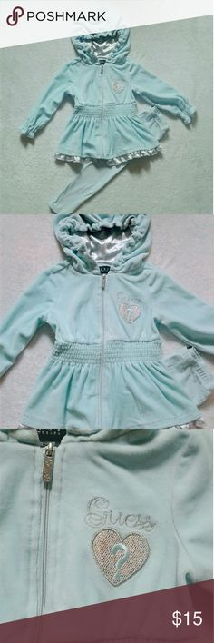 Guess Hoodie Set EUC...pale aqua blue with silver lined good and ruffled bottom  Matching leggings Guess Matching Sets