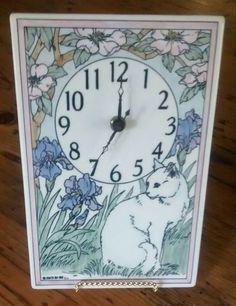 "DECORATIVE COLLECTIBLE APPROX., 9"" X 6"", WALL CLOCK. | eBay! Cat Flowers, Ceramic Design, Santa Barbara, Flower Wall, Clock, Kitty, Ceramics, Ebay, Home Decor"
