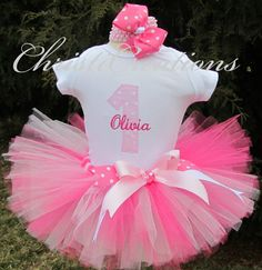 Pretty Pink Baby Girl 1st Birthday Tutu by ChristiCreations, $58.00