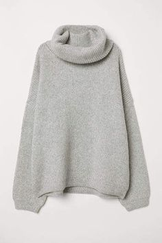 002fc15660 H M Ribbed Turtleneck Sweater - Gray