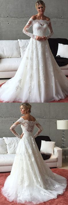 Long Sleeve Wedding Dresses, A-line Wedding Dresses, Off-the-shoulder Wedding Dresses, Tulle Sweep Train Appliques Lace Wedding Dresses
