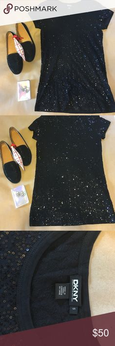 DKNY SEQUIN TEE Sequins in the front and back! Great with Jeans, leather or velvety DKNY Tops Tees - Short Sleeve