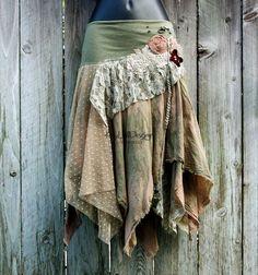 One of a kind bohemian hobo-chic tattered skirt - KS069 MEDIUM